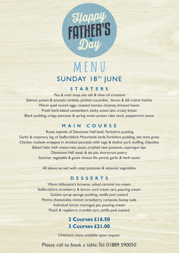 Father's Day Menu - Sunday 18th June 2017