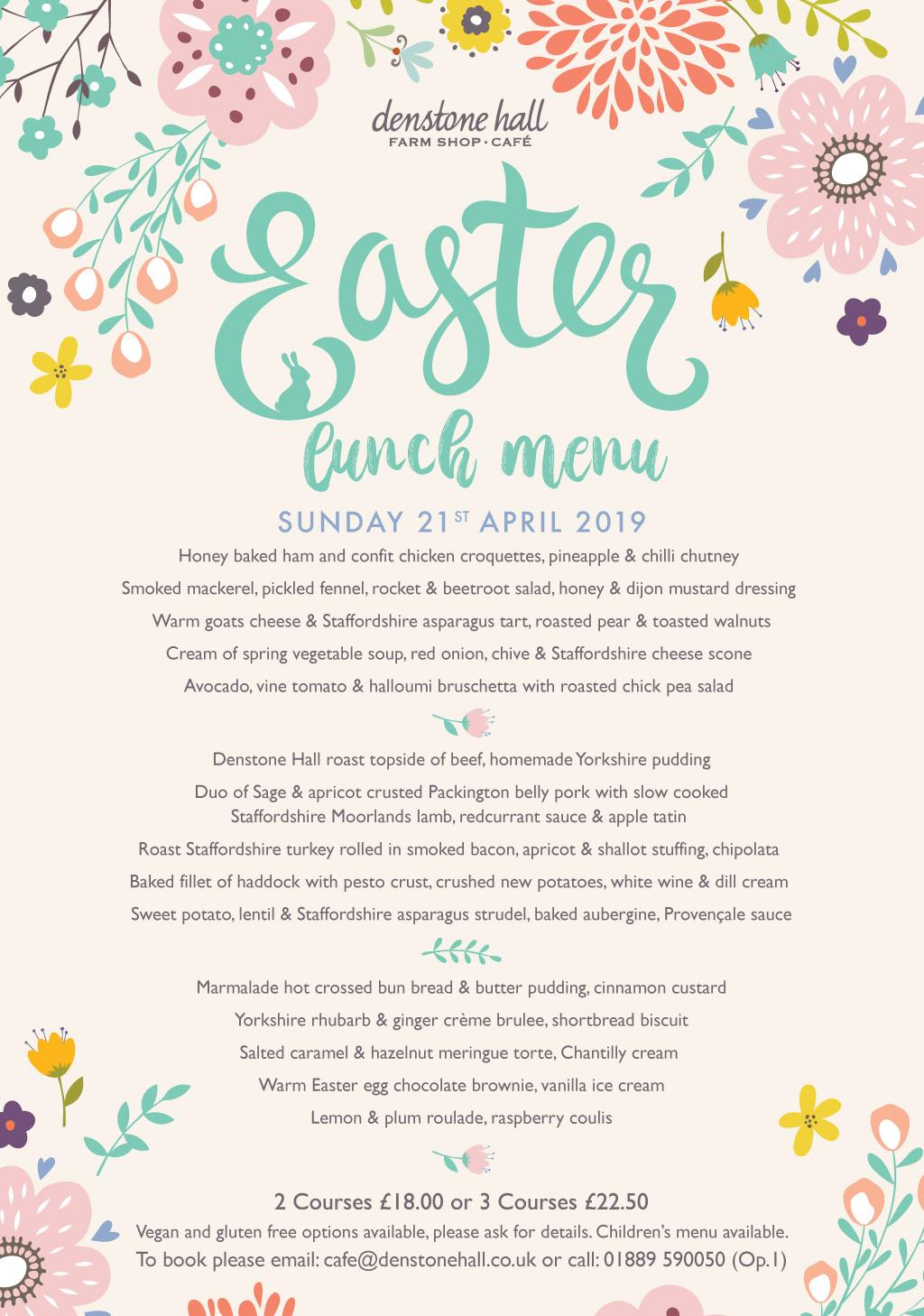 Easter Sunday Menu Denstone Hall Farm Shop Amp Cafe