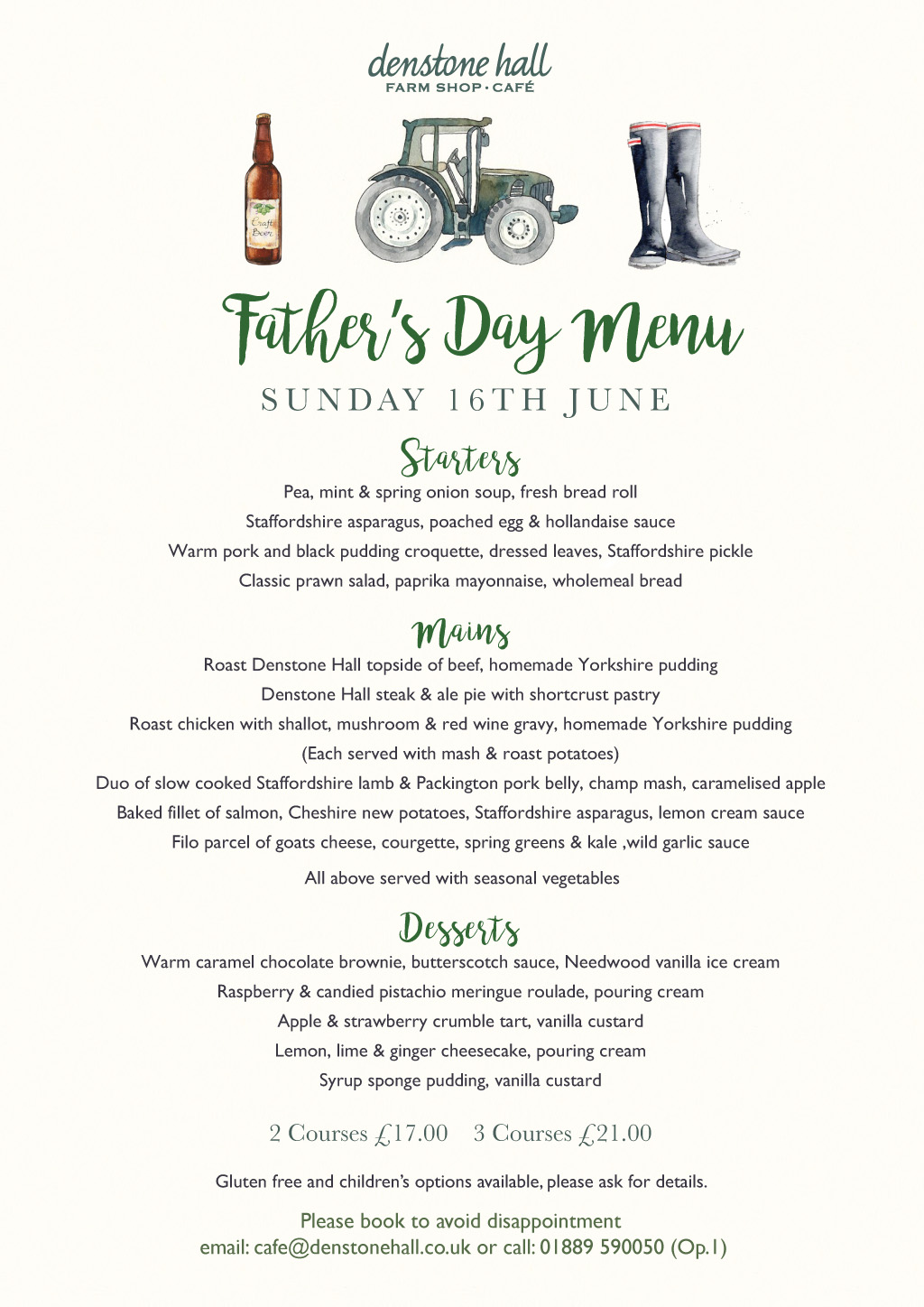 Father's Day Menu - Sunday 16th June 2019