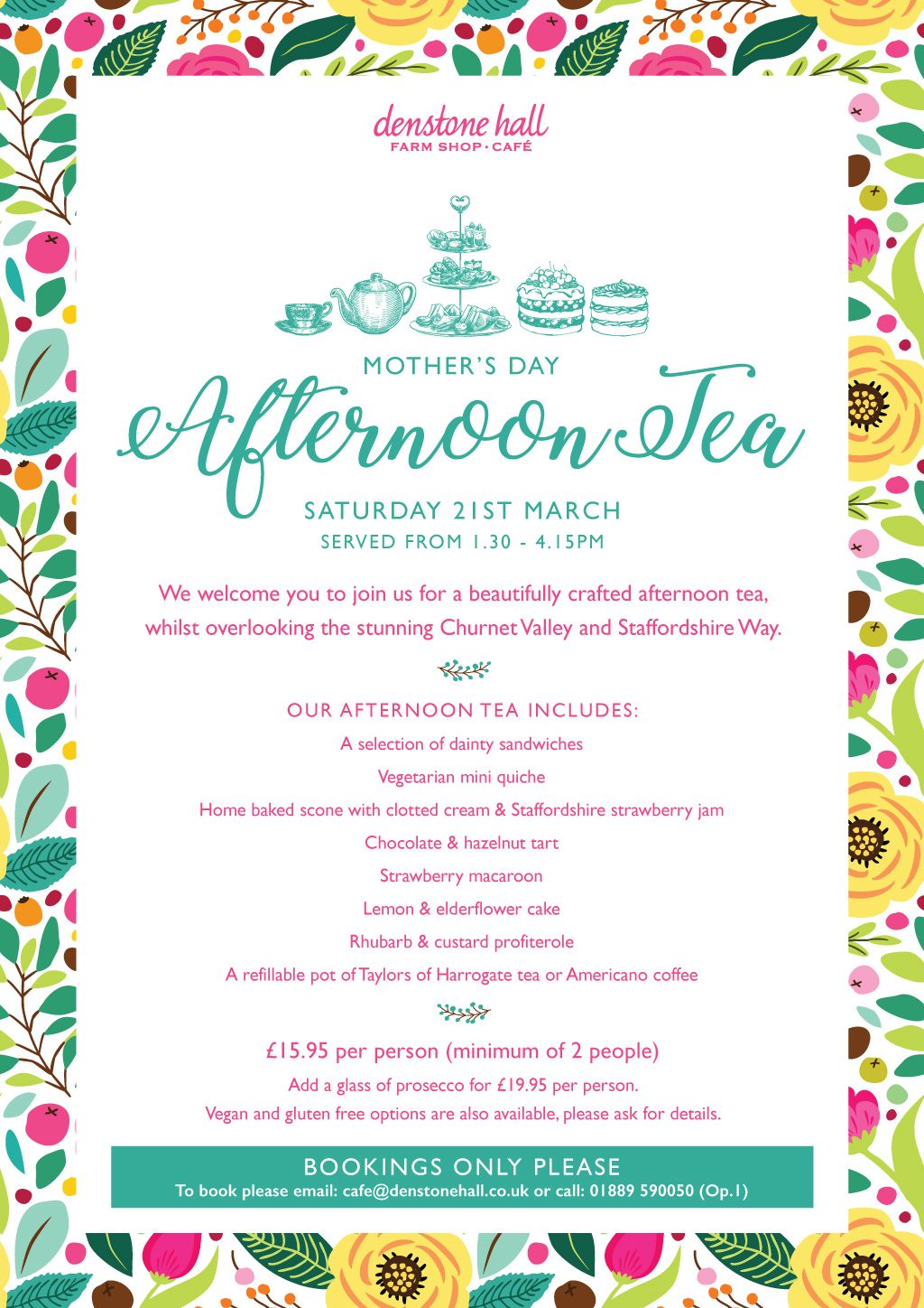 Mother's Day Afternoon Tea Menu