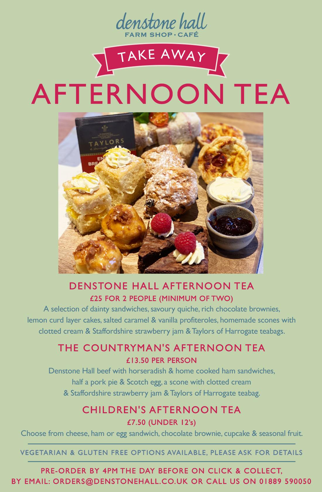 Denstone Hall Afternoon Tea Menu