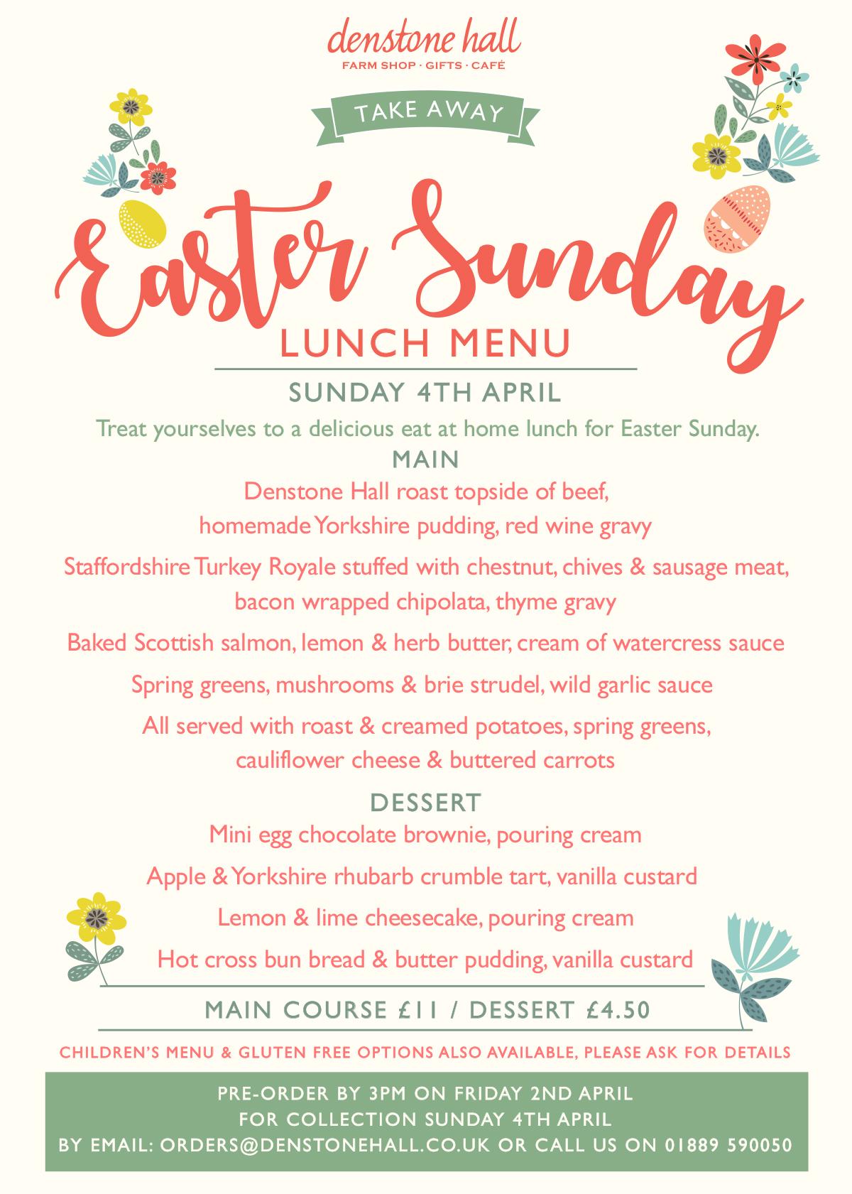 Easter Take Away Sunday Lunch Menu - 2021