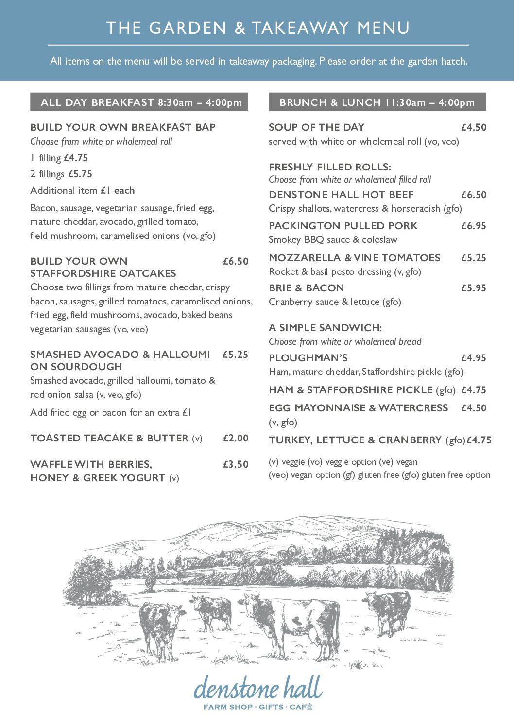 Denstone Hall Farm Shop & Café - Breakfast & Brunch Menu